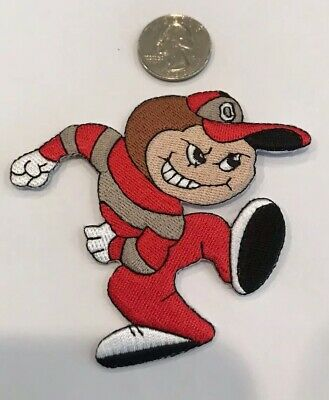 """Ohio State Buckeyes Running Brutus Embroidered Iron On Patch  3"""" X 3"""" Nice!"""