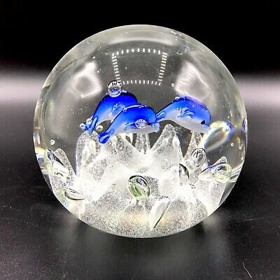 Large Art Glass Paperweight Dolphins Tropical Fish Nautical Aquarium Bubbles