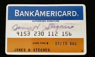 BankAmericard Pawtucket Trust Co RI Credit Card expired 1973♡Free Shipping♡cc107