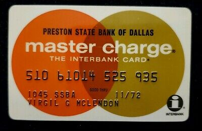 1972 Preston State Bank of Dallas MasterCard  ♡Free Shipping♡cc165♡Presto Charge