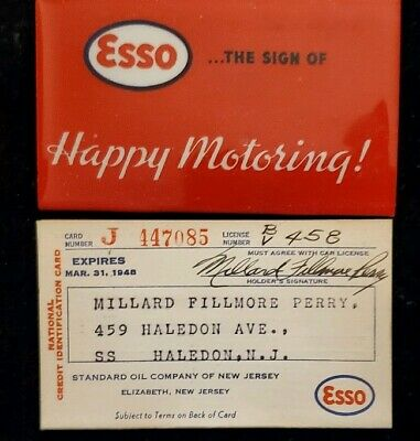 1948 paper Esso charge card with holder ♡Free Shipping♡ cc57