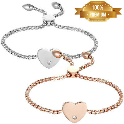 US Women's Stainless Steel Love Heart Charms Adjustable Bracelet Chain Fast Ship