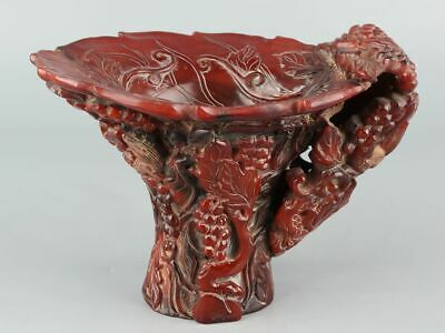 Chinese Exquisite Hand-carved grape squirrel Carving OX Horn cup