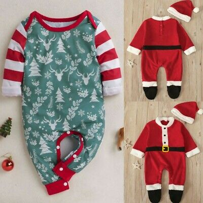 Infant Baby Boys Girls Long Sleeve Christmas Santa Romper Jumpsuit+Hat Outfit US