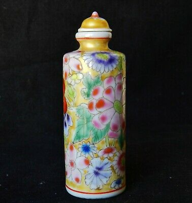 Antique Chinese YONGZHENG MARK Rose Famille Porcelain Snuff Bottle