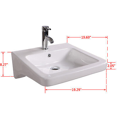 Bathroom Wall Mount Sink w/Faucet Drain Set Porcelain Made Up No Need Bracket