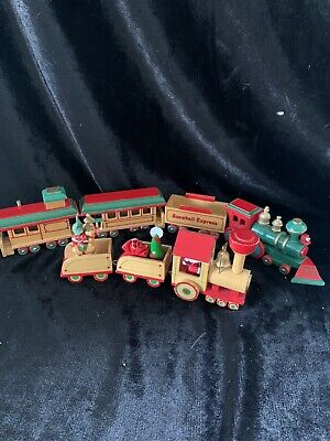 2 Vintage Wooden Wood Train Christmas Tree Ornament Holiday Decoration (zz)