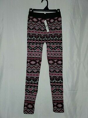 Girl's Fleece-Lined Leggings Size 12/16, Soda Brand NWT pink black (33A)
