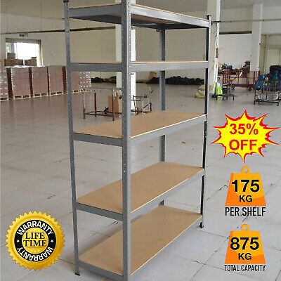 Heavy Duty Storage Racking 5 Tier Shelving Boltless Metal for Garage Workshop