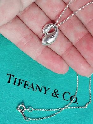 Tiffany & Co Elsa Peretti Sterling Silver Double TearDrop Pendant Necklace 16""