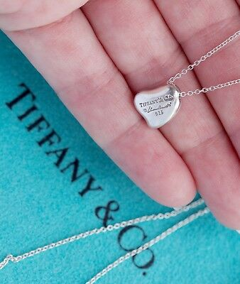 Tiffany & Co Elsa Peretti Full Curved Heart Pendant Sterling Silver Necklace 16""