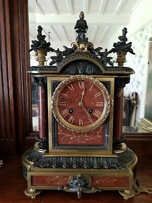 Outstanding & Period Antique French Brass & Red Marble Mantel Clock Japy Freres