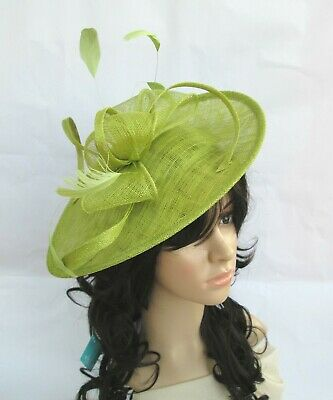 NEW LIME GREEN SINAMAY & FEATHER FASCINATOR HAT.Shaped saucer disc,Wedding.