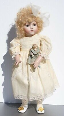 """Antique Bru French Doll With Small Doll 20"""" Reproduction Artist Made Gorgeous"""