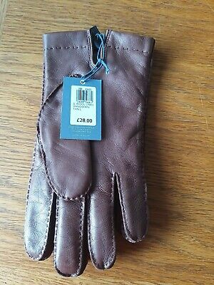 John Lewis Wool Lined Handsewn Tan Leather Gloves LARGE