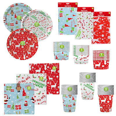 Christmas XMAS Party Supplies Tableware Decoration Plates Cups Napkins Covers