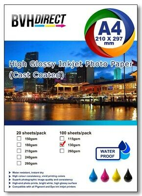 100 Sheets A4  High Quality High Glossy 130gsm Photo paper premium cast coated