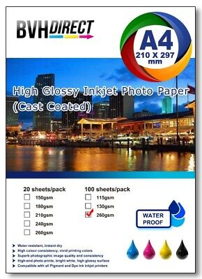 100 Sheets A4  High Quality High Glossy 250gsm Photo paper premium cast coated