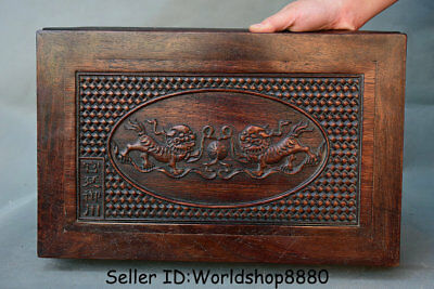 """15.8"""" Antique Chinese Dynasty Palace Huanghuali Wood Carved Lion Dog Table Desk"""