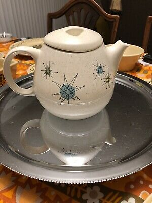 Vintage Franciscan STARBURST Teapot w Lid Atomic Mid-Century MCM Tea Pot AS IS