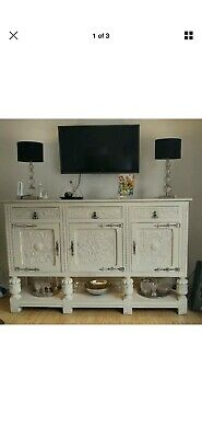 Large Antique French style Carved Oak Cabinet Credenza Sideboard.