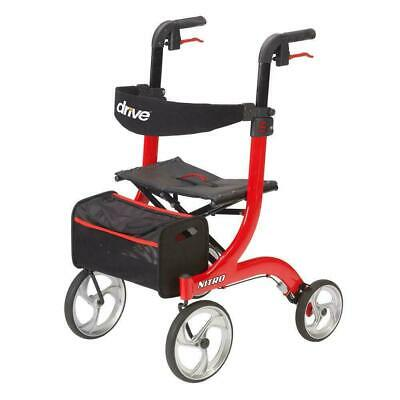 Drive Medical Nitro Euro Style Red Folding Rollator Walker, RTL10266
