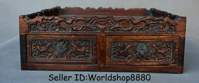 """13.8"""" Antique Chinese Dynasty Palace Huanghuali Wood Carved 2 Drawer Plate Tray"""