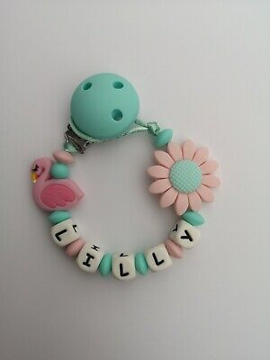 Personalised Baby Dummy Silicone Clip Shower Christening Gift//Free MAM Adapter