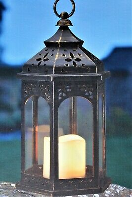 Moroccan Lantern Indoors or Outdoors Battery Powered flickering candle effect
