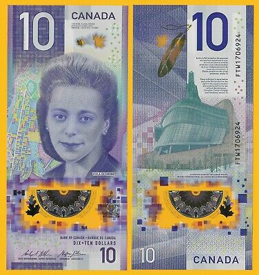 Canada 10 Dollars p-new 2018 UNC Polymer Banknote