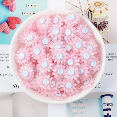 10pcs 18mm Resin Plastic Crystal Flower Button Embellishments Decorations Pink