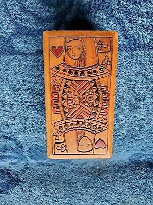 Old wooden antique odd playing card holder