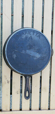 Antique Marietta Gate Mark 7 Cast Iron Skillet Fancy Ornate Handle HTF PA Rare