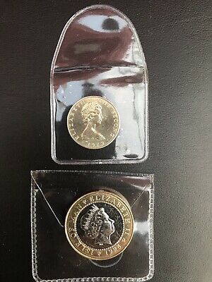 1978 Isle of Man IOM Manx £1 Triskeles Over Island One Pound Coin. 1998 £2 Coin