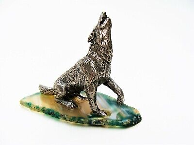 Miniature Howling Wolf on Striped Agate Base