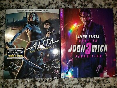 John Wick: Chapter 3 Parabellum Alita Battle Angel Blu Ray DVD Lot