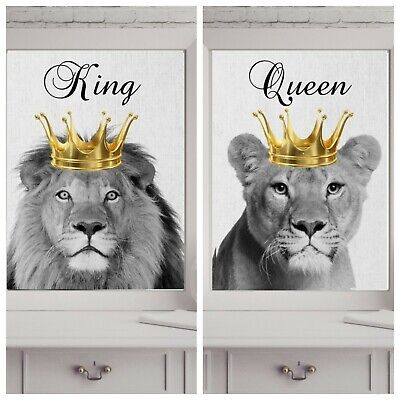 king queen lion lioness  print PICTURE WALL ART A4 crown  UNFRAMED 23 PORTRAIT