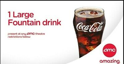 AMC Theater - 2 Large Fountain Drinks Expire 06/30/2020 Same-Day Email delivery