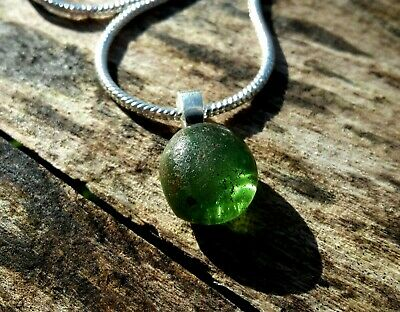 Ancient Egyptian Glass Apple Green Pendant & Silver Chain 100 B.c. - 100 A.d.