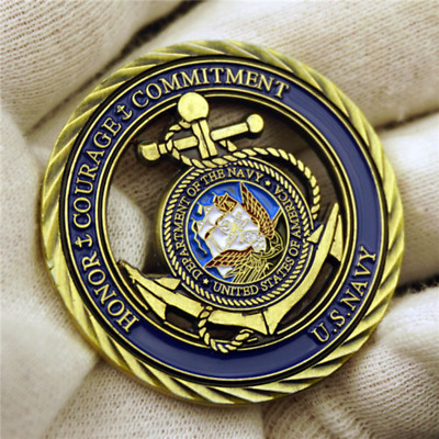 US Navy Coin, Core Values Challenge Collectible Coin, United States Honor