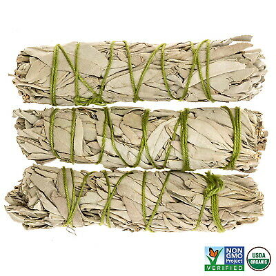 White Sage Cali Smudge Stick SET OF 3 (Sage Bundle,House Cleansing) Made in USA