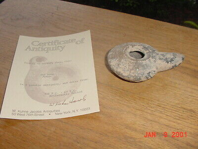 Ancient Hellenistic Oil Lamp Judea Antiquity Artifact With Coa
