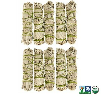 White Sage Cali Smudge Stick SET OF 10 (Sage Bundle,House Cleansing) Made in USA