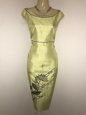 JACQUES VERT Size 16 Lime Green Floral Dress Mother Of The Bride Wedding Evening