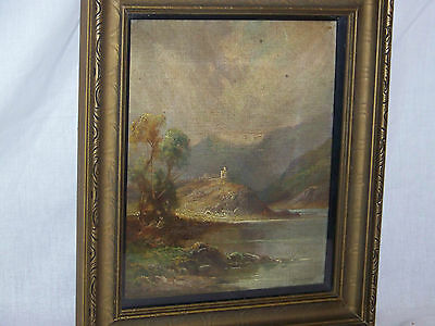 Antique Lakeside Castle c19th Century Original Oil On Canvas Painting Signed