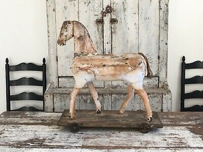 Fabulous Aafa Early Antique Folk Art Primitive Gesso? Wood Pull Toy Horse White