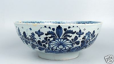 Large 18th Century English Delft Punch Bowl Blue Dec Antique Tin Glaze Pottery