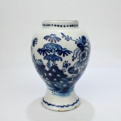 18th Century Tin Glazed Dutch Delft Pottery Blue and White Vase or Jar - PT