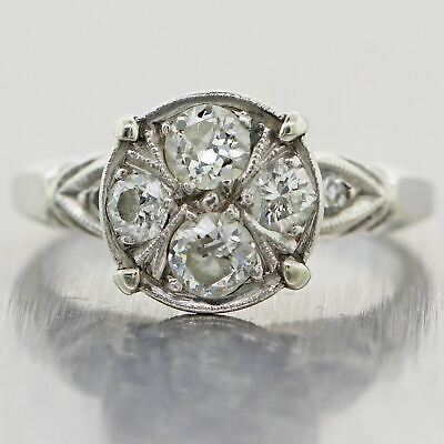 1930's Antique Art Deco 14k White Gold 0.70ctw Diamond Plated Ring
