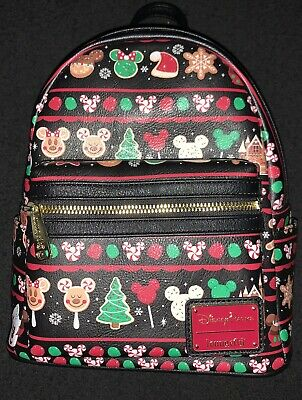 Disney Parks Christmas Holiday Snacks & Icons Loungefly Mini Backpack 2019 NWT
